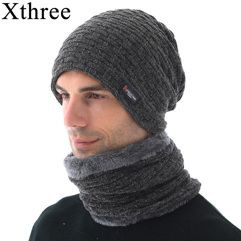 Xthree Chenille Winter Hat For Men Beanies Skullies Hat Knitted Hat Scarf With Lining Male Gorras Bonnet Winter Hats Beanie