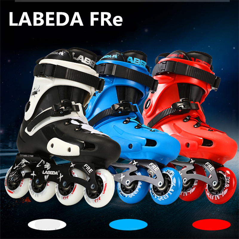 LABEDA FR FRE Roller Skating Shoes Professional Slalom Skates Patins Same Good With SEBA FRM FSK Blue Red 76mm 80mm 85A PU 300kg