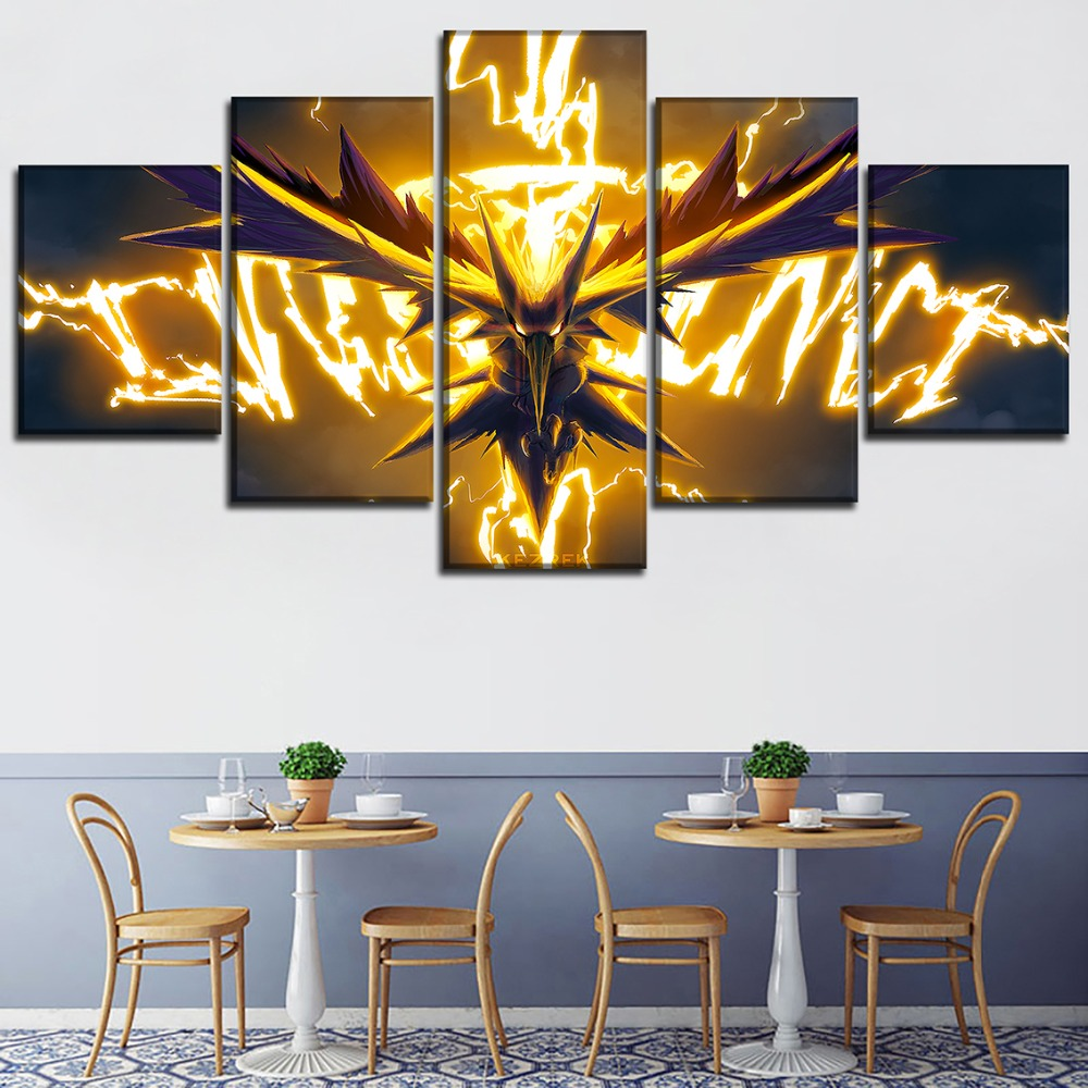 Home Decor Wall Art Painting On Canvas Print 5 Pieces Animation Pokemon Poster Dragon Spirit Modular Picture For Living Room 2