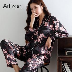 Image 2 - Pijamas de seda de cetim para conjunto de pijamas femininos botão pijamas donna pjs inverno mujer pijamas pijamas pijamas pijamas pizama damska 2 peças