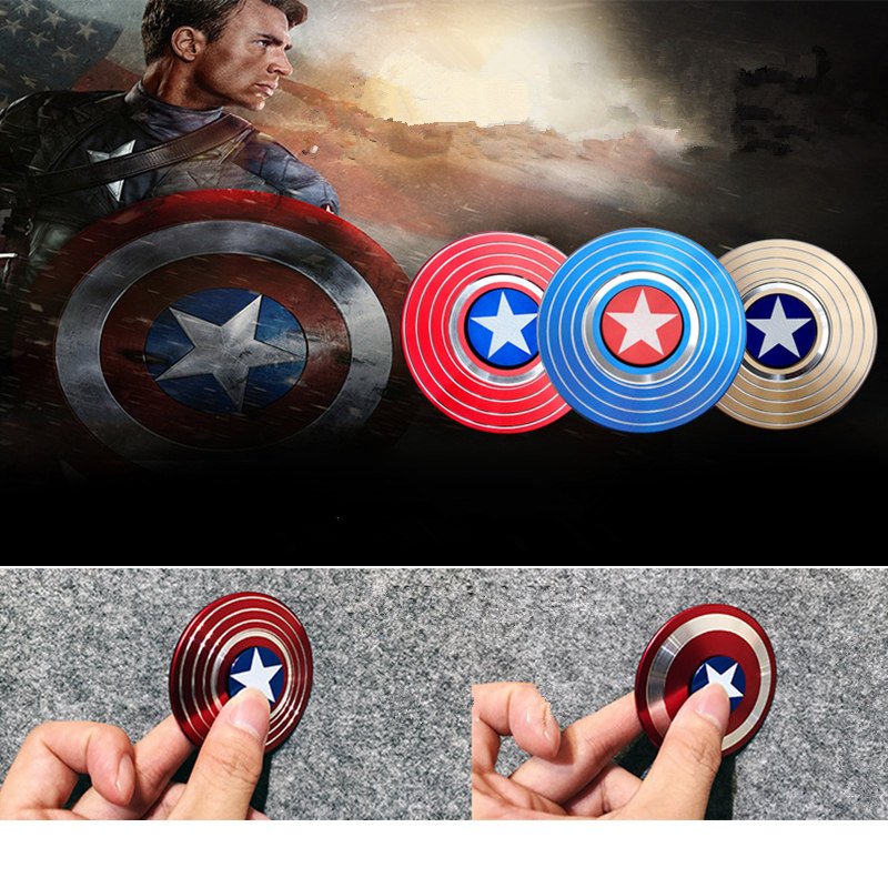 American Captain Fingertip Gyro Shield Alloy Gyro Spinner Decompression Toy Fidget Spinner Hobbies For Adults