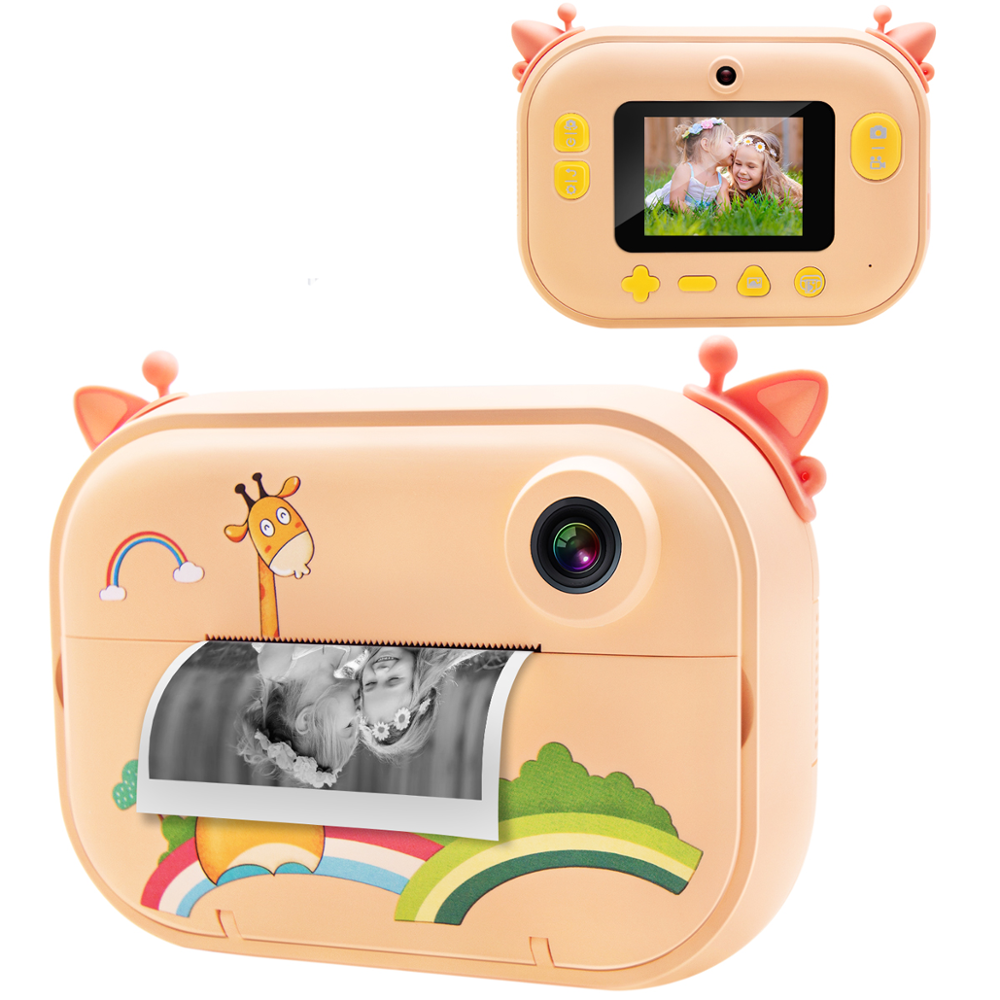 BRAWO 1080P Instant Print Camera Kids Digital Instant Camera with Print Paper Cartoon Sticker Double Sided Tape Lanyard 16G