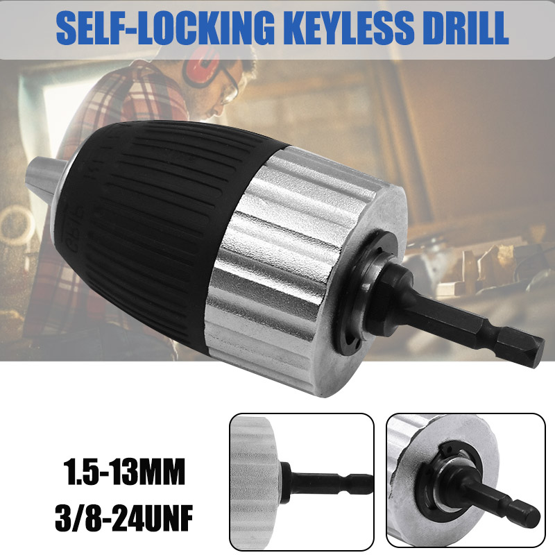 1.5-13mm 3/8-24UNF Self-locking Keyless Electric Drill Chuck For Impact Wrench Conversion Tools Set Holder Drill Bit Accessories