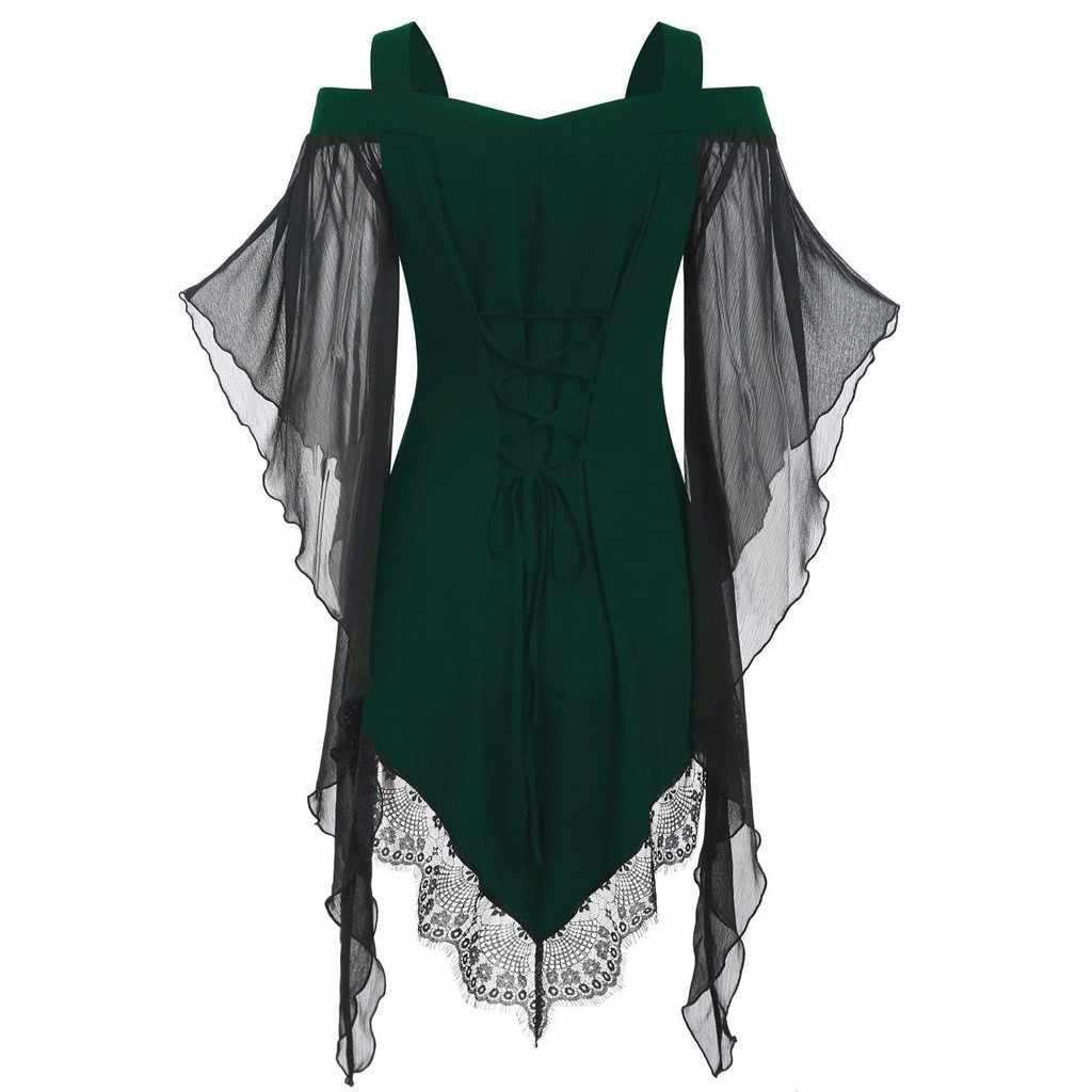Tshirt Wanita Halloween Gothic Criss Cross Renda Insert Butterfly Lengan T-Shirt Tops Poleras Camiseta Top Wanita Harajuku T Shirt