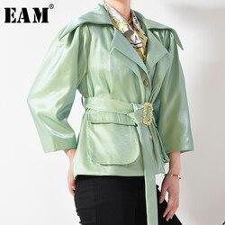 Женская куртка с карманами [EAM], зеленая свободная облегающая короткая куртка с отложным воротником и длинным рукавом, весна 2020, JH58206