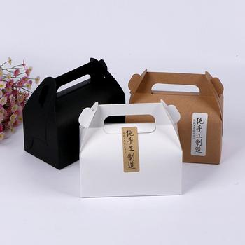 10pcs Cake Food Kraft Paper Box With Handle Boxes Christmas Birthday Wedding Party Candy Gift Packing with Handle image