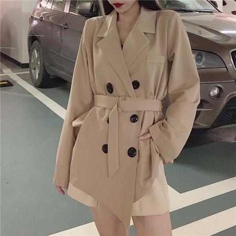 2019 fall women lace up blazers and jackets blazer women  Long Sleeve office lady casual belt Suit Pakistan