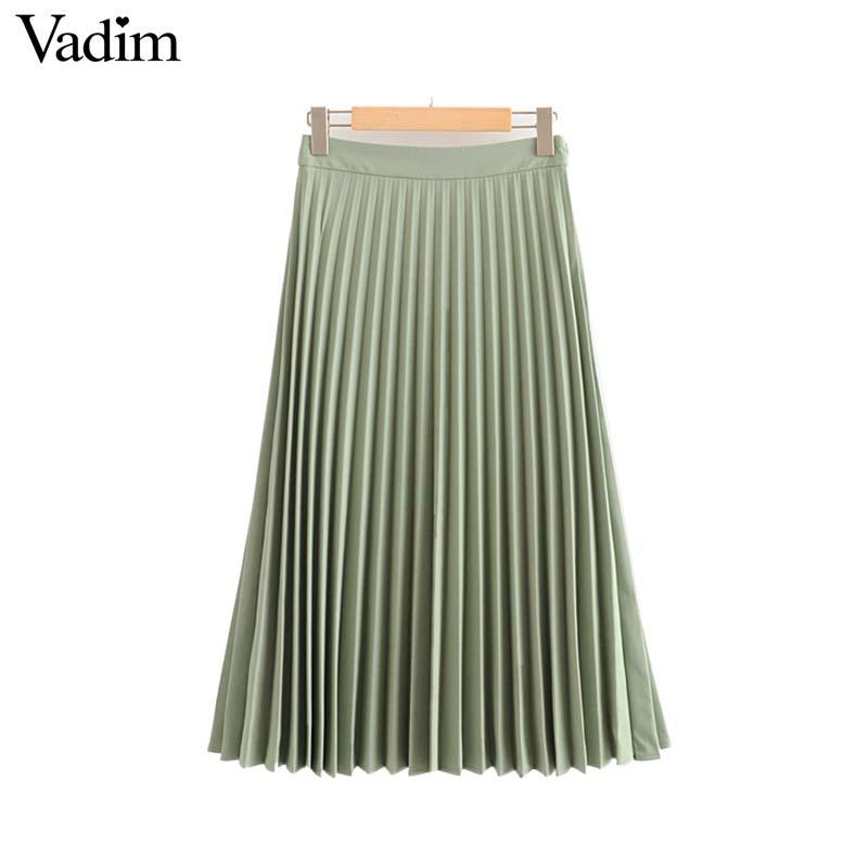 Image 4 - Vadim womem basic solid pleated skirt side zipper green black midi skirts female casual cozy fashion mid cald skirts BA865Skirts   -