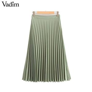 Image 4 - Vadim womem basic solid pleated skirt side zipper green black midi skirts female casual cozy fashion mid cald skirts BA865