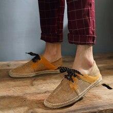 Новинка года; модные летние мужские повседневные парусиновые туфли с пеньковой стелькой; светильник в рыбацком стиле; Мужские эспадрильи на плоской подошве; II-07Z