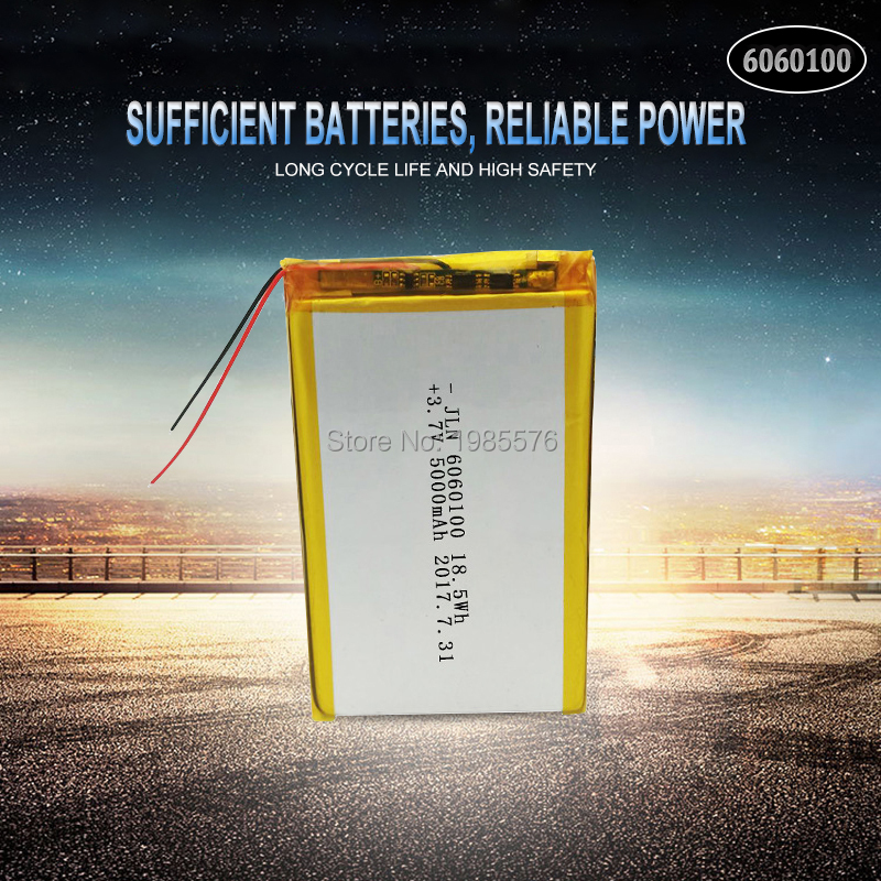 <font><b>3.7V</b></font> <font><b>5000mAh</b></font> 6060100 Polymer Lithium <font><b>LiPo</b></font> Rechargeable <font><b>Battery</b></font> For GPS PSP DVD PAD Tachograph power bank Speaker Searchlight image