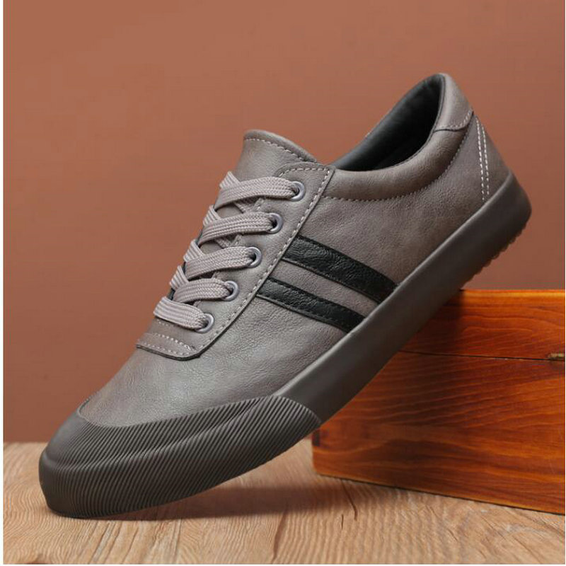 High Quality Fashion  Comfortable Men's Black GRAY Flats Leather Shoes Men Casual Sneaker Shoes A11-51