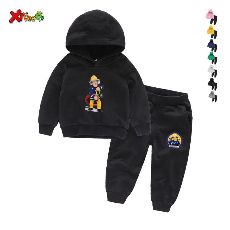 Children Winter Clothes Baby Boys Cartoon Clothing Sets Fireman Sam Pattern Print Cartoons Sweatsets for Boys Girls Kids Clothes 2