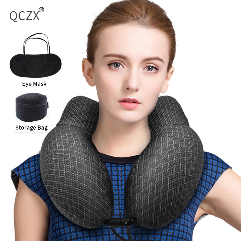 U-shaped Pillow Outdoor Travel Neck Pillow Memory Foam Filler With Eyemask Earplug Travel Office Car Embrace Cervical Pillow D30