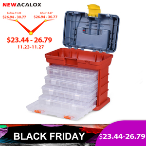 NEWACALOX Portable Multifunctional Hardware Storage Box with 4-layer Parts Plastic Box Outdoor For Repair Accessories Toolcase