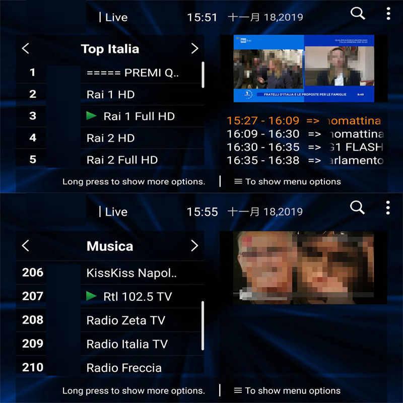 Italia IP tv на 1 год Android Box Поддержка Spainish Germen Италия подписка 1000 + жизнь 2000 VODs m3u smart tv MEDIASET h96