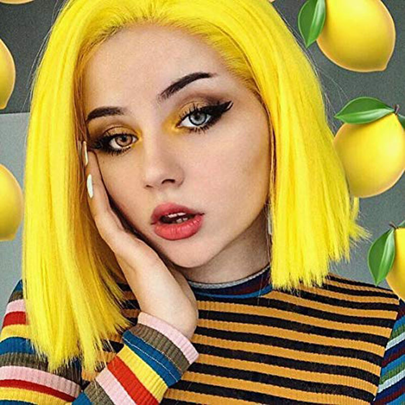 AIMEYA Lemon Yellow Short Hair Wigs Middle Part Synthetic Straight Bob Lace Front Wigs For Women Heat Resistant Fiber Hair Wigs