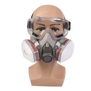Image 5 - Maska gazowa przemysłowe pół twarzy malarstwo rozpylanie Respirator z okulary ochronne garnitur bezpieczeństwa pracy filtr wymienić 3M 6200