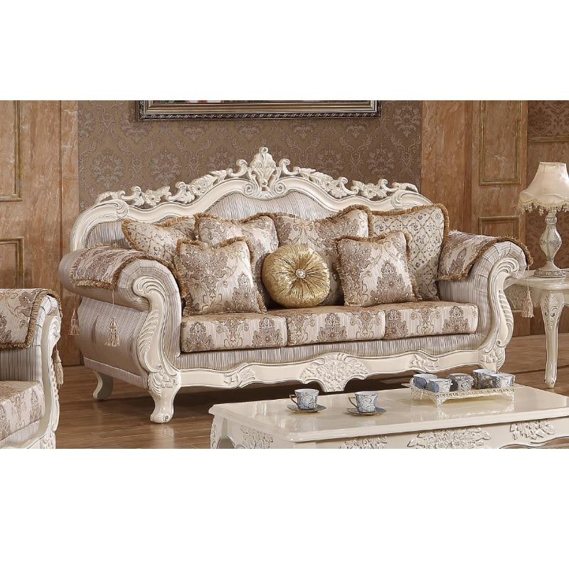 Wooden Fabric Sofa Za Kisasa Set Luxury WA552