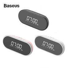 Baseus Alarm Clock Night Light bluetooth Speaker FM/TF Function Portable Wireless Loudspeaker Sound System For Bedside Office(China)