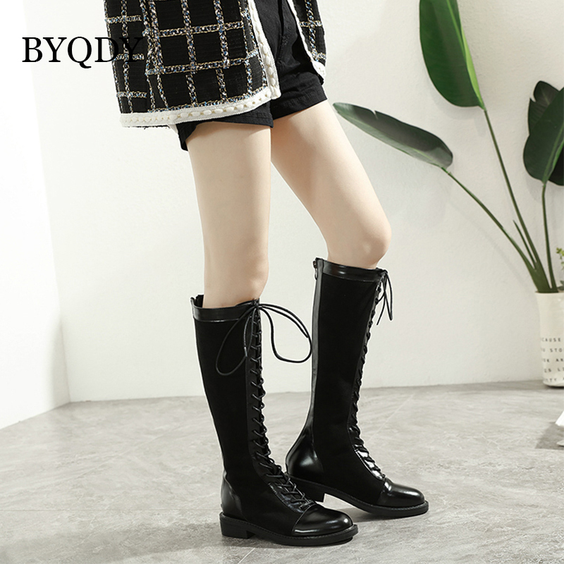 Autumn Ladies Equestrain Riding Boots Block Heels Knee High Zipper Casual Shoes