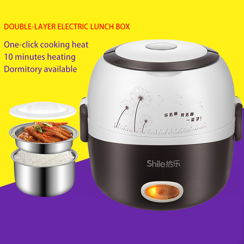 AirGTC Rice Cooker Insulation Heating MINI Electric Lunch Box 2 Layers Portable Steamer Multifunction Automatic Food
