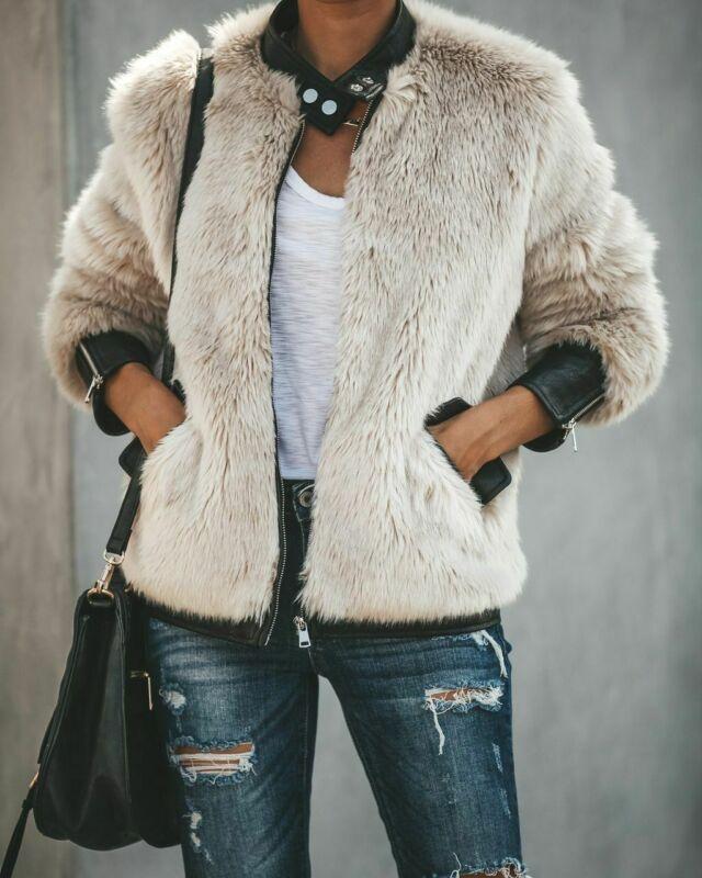2019 Hot Women Warm Teddy Bear Fleece Leather Faux Fur Patchwork Pocket Long Sleeve Slim Jacket Zip Up Oversize Outwear Coats