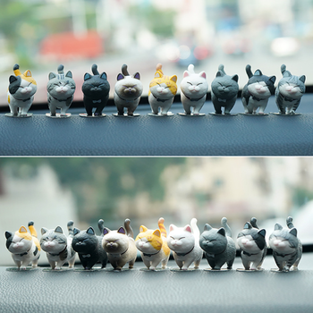 9 per set Car decoration simulation cat doll Kitty creative car center console toy cat micro landscape cute car accessories Gift big creative simulation catching mouse cat lifelike handicraft dark colour cat doll gift about 42x14x13cm