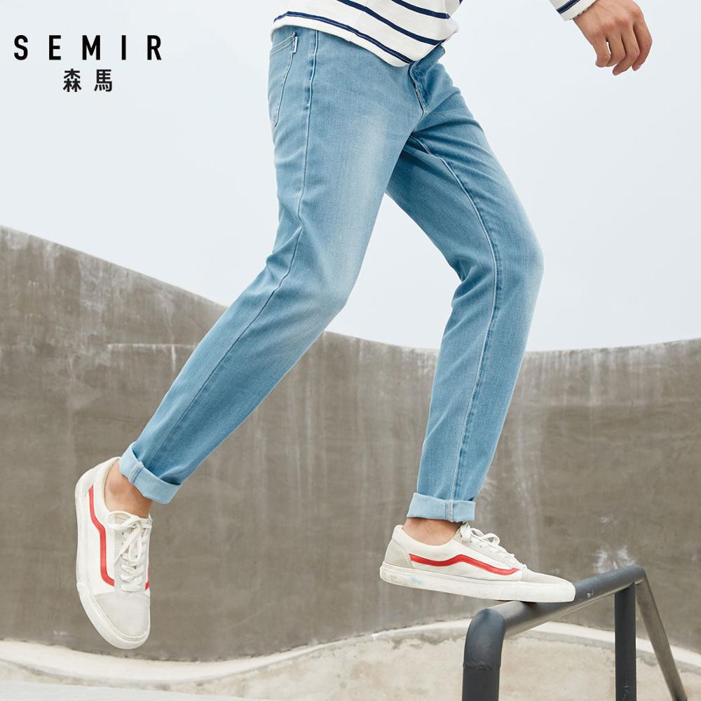 SEMIR Jeans for Men Mens Stretchy Skinny Jeans in Soft Cotton Jeans in Washed Denim with Mock Front Pocket  Zip Fly with Button
