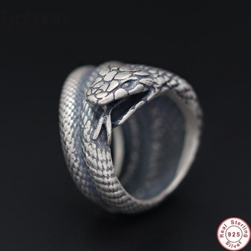 Réel 100% S925 argent Sterling serpent anneaux hommes exagéré serpent large doigt anneau Cool Gothnic Punk Bijoux à la main Bijoux