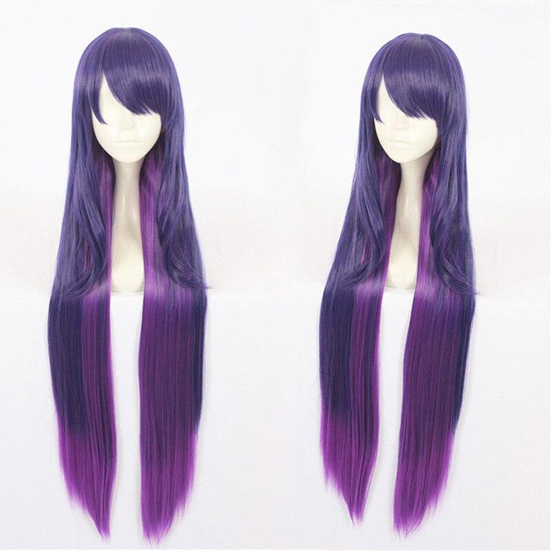 Novo jogo lol syndra personagem cosplay perucas 90cm longo roxo resistente ao calor do cabelo sintético perucas peruca cosplay + peruca boné