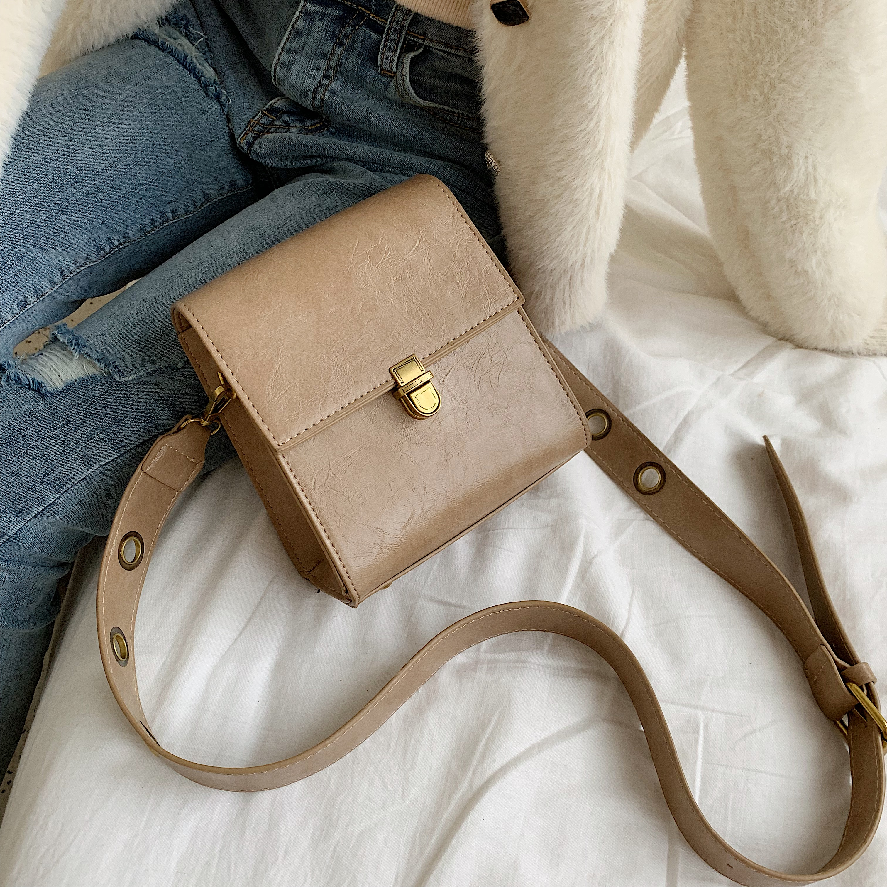 Solid Color Vintage Leather Crossbody Bags For Women 2020 Small Lock Shoulder Messenger Bag Female Travel Handbags And Purses