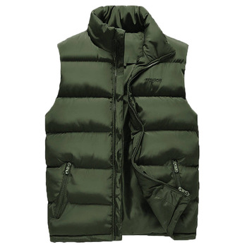 2020 New Winter Vest Men's Jacket Stand Collar Large Size Waistcoat Thickened Warmth Loose Men's Vests Fashion Wild Men's Coat