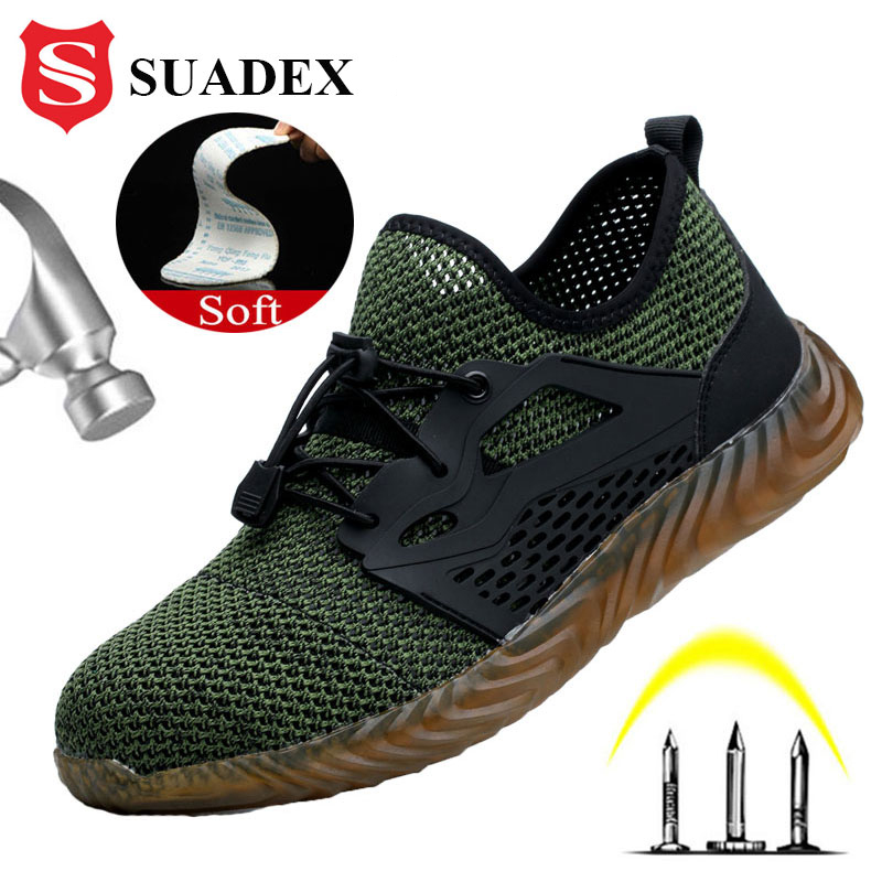 SUADEX Four Season Men Women Work Safety Shoes Breathable Anti Smashing Steel Toe Cap Puncture Proof Work Shoes Dropshipping