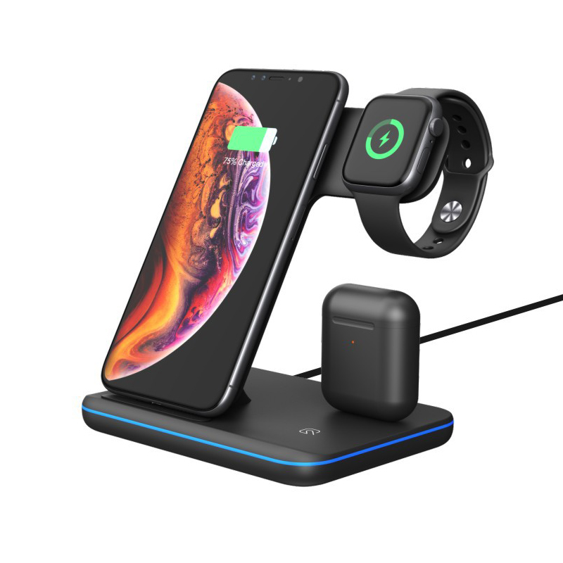 3 in 1 15W Qi Wireless Charger For iPhone X 8 Xiaomi Fast Dock Apple Watch 4 2 Airpods