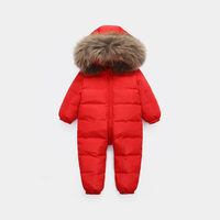 Big fur hooded baby winter jumpsuit Romper toddler boys girls warm duck down snowsuit overalls russian winter children outfit