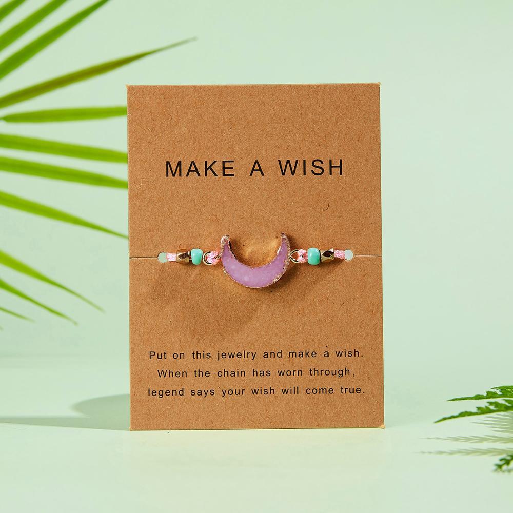 Натуральный камень Новая 7 цветная подвеска тканый браслет с картой Загадай желание регулируемый браслет из веревки для женщин очаровательные подарочные украшения - Окраска металла: 13