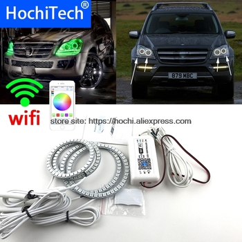 HochiTech RGB Multi-Color halo rings kit car styling for Mercedes-Benz GL-Class X164 GL450 07'-12 angel eyes wifi remote control