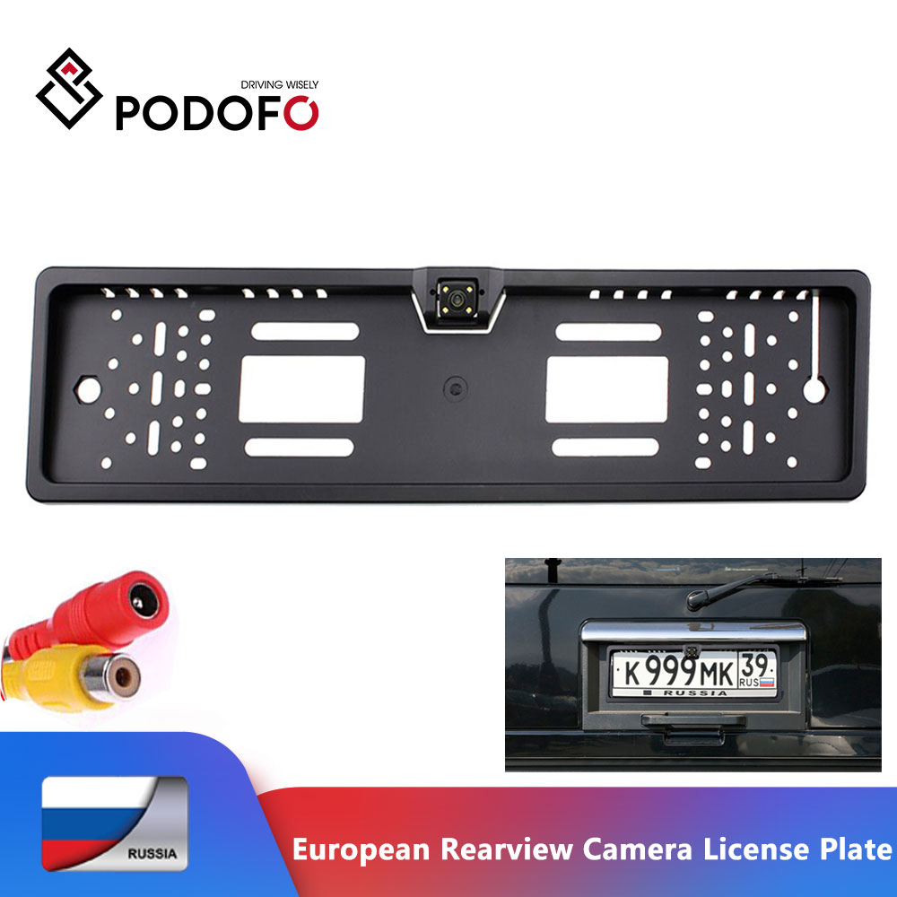 Podofo European License Plate Car Rear View Camera Auto 170 Degree Backup Parking Rearview Camera Waterproof Camera Car- Styling