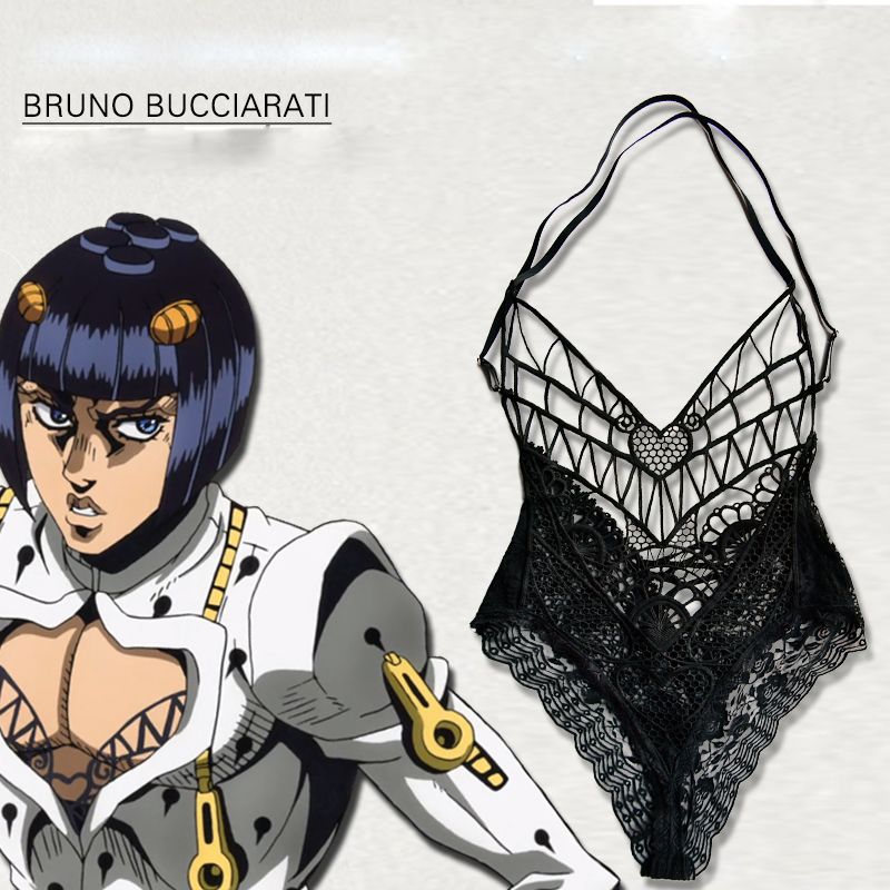 Anime JOJO 5 JoJo's Bizarre Adventure Golden Wind Bruno Bucciarati Cosplay Costume Lingerie Lace Top Inner Jumpsuits