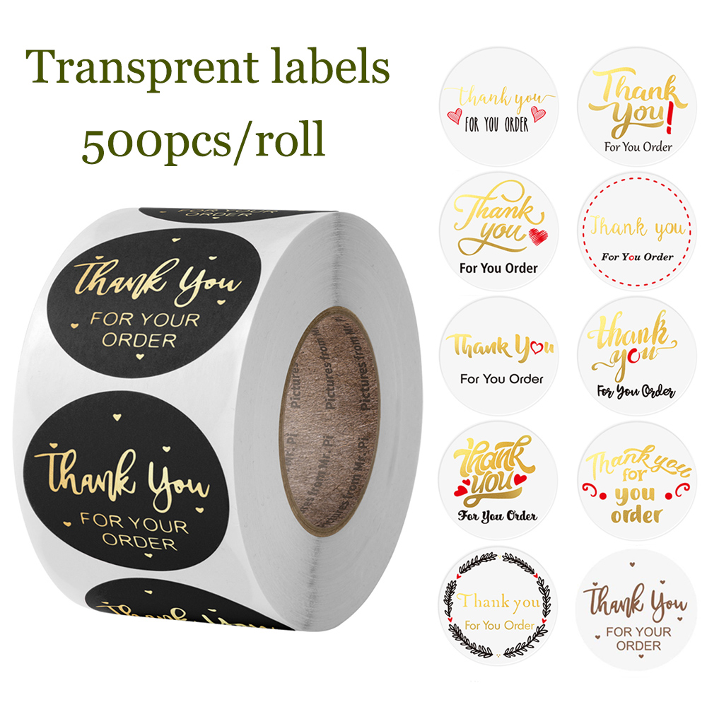 500pcs Transparent Labels Thank You for Your Order Stickers Seal Labels for shop Business Package De