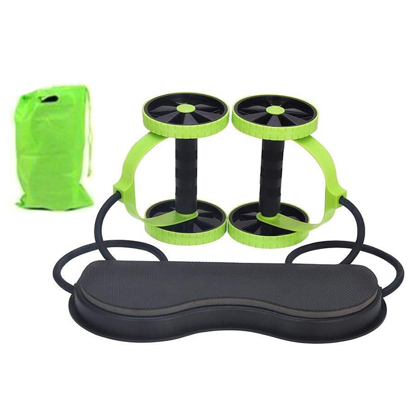 Fitness Wheels Roller Elastic Abdominal Muscle Resistance Pull Rope for Training Exercise Home B2Cshop image