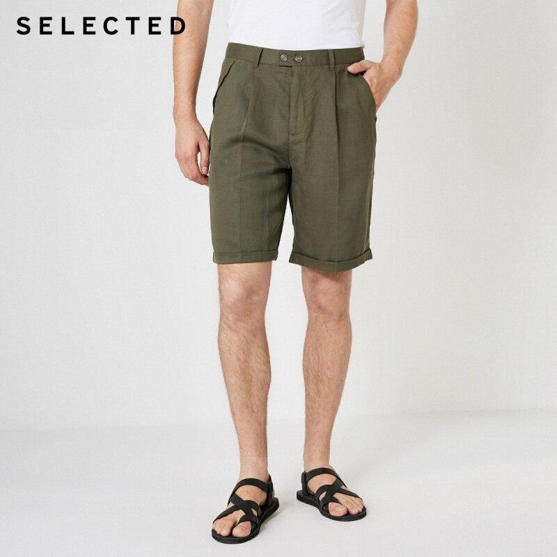 SELECTED Men's Summer Loose Fit Linen Knee-length Shorts S|4192SH515