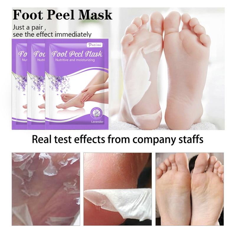 PUTIMI 4pcs=2pack Exfoliating Foot Mask Lavender Nurishing Dead Skin Peeling Feet Mask Pedicure Socks Whitening Calluses Repair