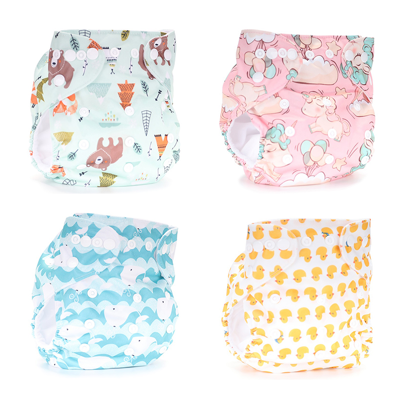 Baby Cloth Diapers Reusable Nappies Character Unisex Baby Care Pants Waterproof Pocket Cloth Diaper Baby Shower Gifts