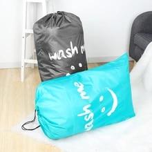 빨 수있는 더러운 옷 주최자 나일론 세탁 가방 워시 나 여행 스토리지 파우치 접는 가방 워시 Drawstring 가방