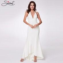 Женское вечернее платье с v образным вырезом элегантное белое