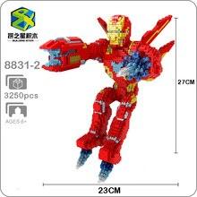 цена на Building Star Marvel Avengers Fly Iron Man Super Hero DIY 3D Model Diamond Mini Building Small Blocks Toy for Children no Box