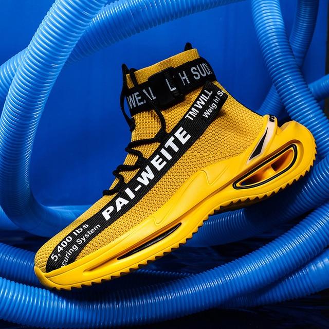 Zapatillas de deporte de suela gruesa para hombre, zapatos de suela gruesa con suela de aire para caminar, con tejido de mosca, para exteriores 4