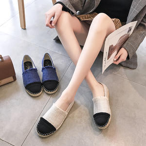 Braided-Rope Fisherman-Shoes Female Flat Casual New Straw Small Social Canvas One-Pedal